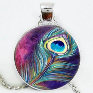 Necklace- NEW- Peacock Bird Feather